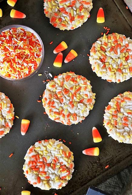 Halloween Sprinkle Sugar Cookies on Baking Sheet Image