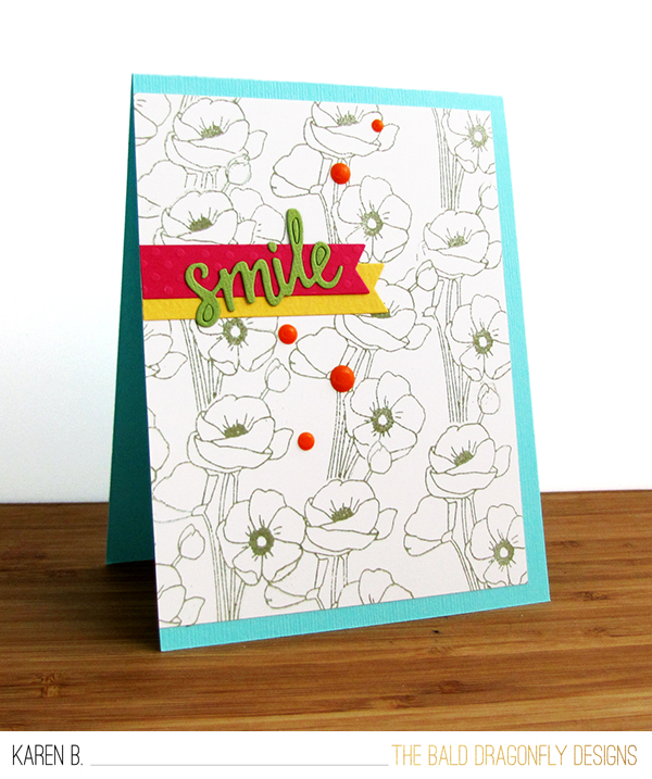 Smile Card by October Guest Designer Karen Baker | Flower Garden Stamp set by Newton's Nook Designs #newtonsnook