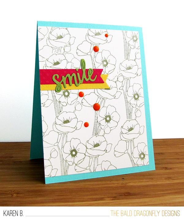 Smile Card by October Guest Designer Karen Baker | Flower Garden Stamp set by Newton's Nook Designs #newtonsnook