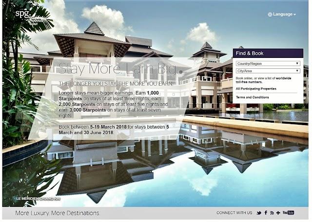 SPG喜達屋集團-最高贏取3000點Starpoints積分獎勵-Stay More,Earn Big(泰國,越南,柬埔寨地區促銷)
