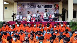Polresta Pekanbaru Amankan 79 Preman yang Lakukan Pungli ke Warga