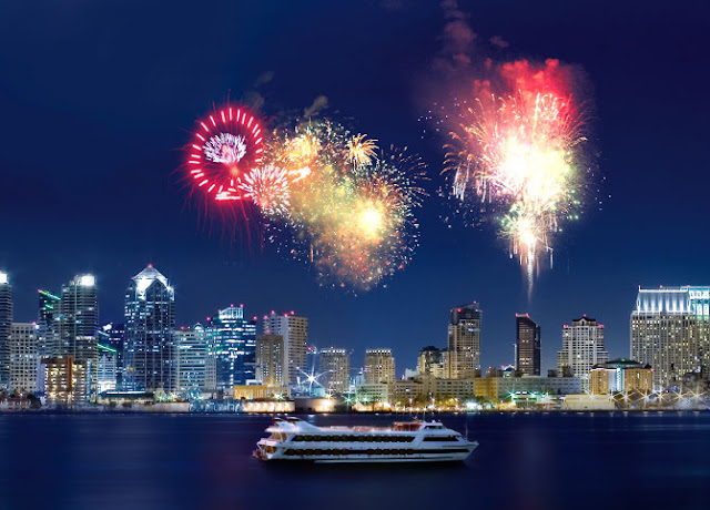 Fireworks over the bay in San Diego. Photo: Hornblower Cruises and Events