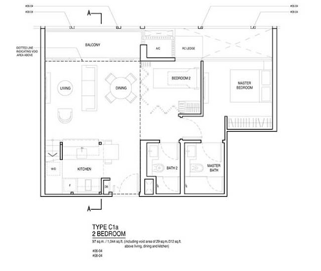 UP @ Robertson Quay Type C1a Floor Plan