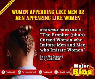 MAJOR SIN. 33.2. WOMEN APPEARING LIKE MEN OR MEN APPEARING LIKE WOMEN