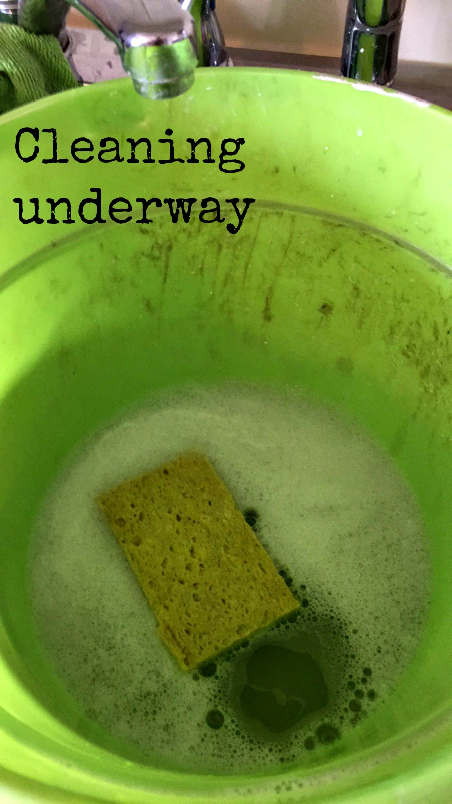 Bucket and sponge for cleaning