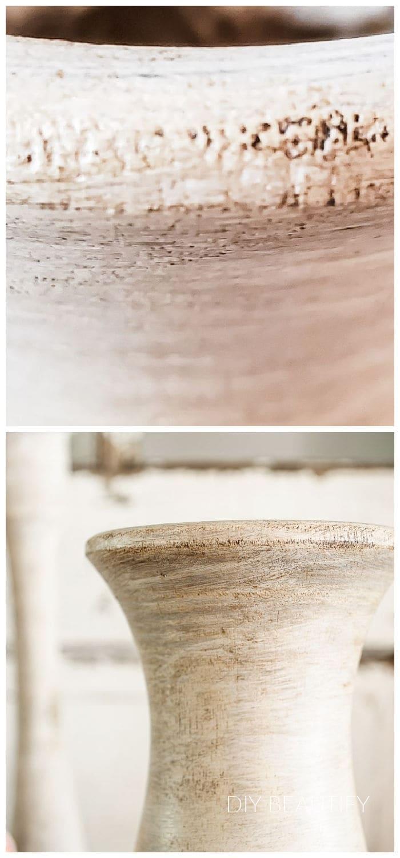 close up after applying dark furniture paste wax