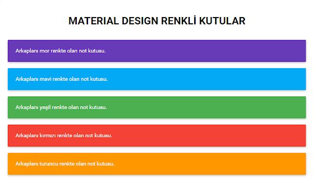 Blogger İçin Material Design Renkli Yazı Kutuları