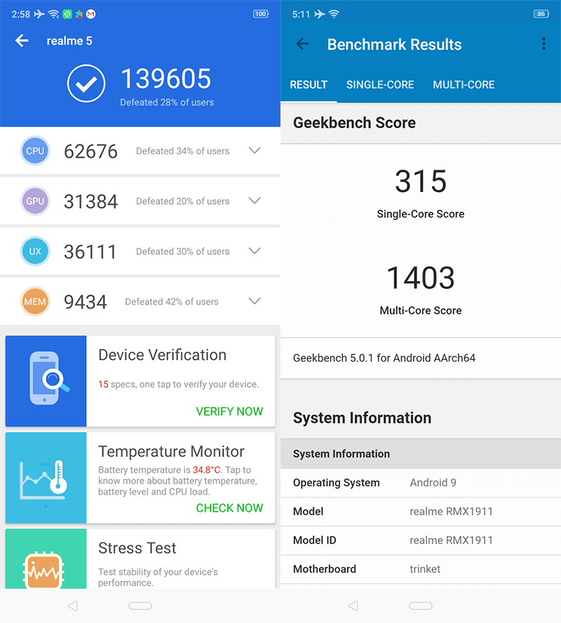 AnTuTu and GeekBench 5 benchmark scores