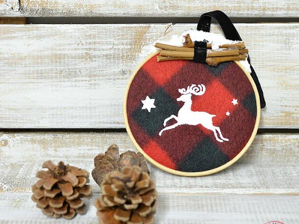 Repurposed Buffalo Check Scarf Ornaments