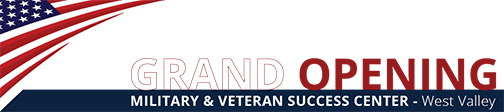 Military and Veterans Success Center - West at Luke Air Force Base Grand Opening Banner with American flag