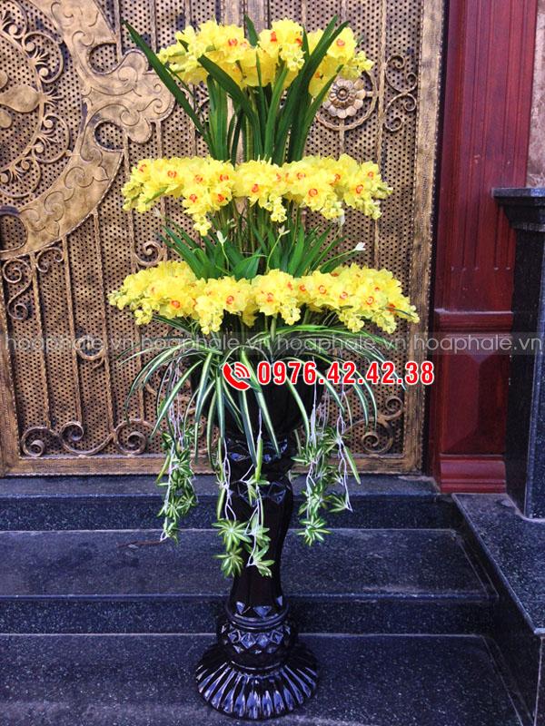 Hoa pha lê - lan hoàng hậu mầu vàng 3 tầng