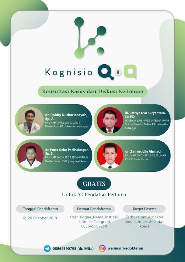 """Kognisio,  membuka kelas konsultasi online """"KognisioQnA"""" bersama dokter-dokter spesialis secara mudah, murah dan terpercaya"""