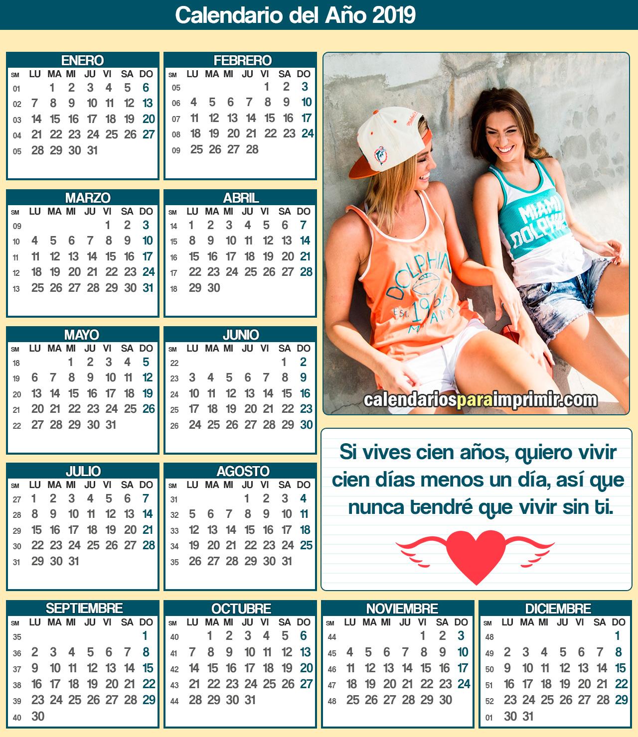 calendarios de amistad para imprimir