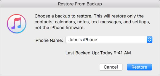 mengembalikan pesan WhatsApp yang terhapus di iPhone dengan iTunes