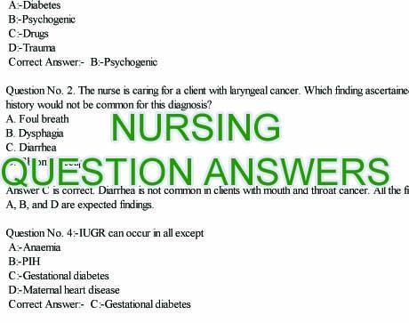 NURSING WRITTEN TEST SAMPLE QUESTIONS: Staff Nurse Exam