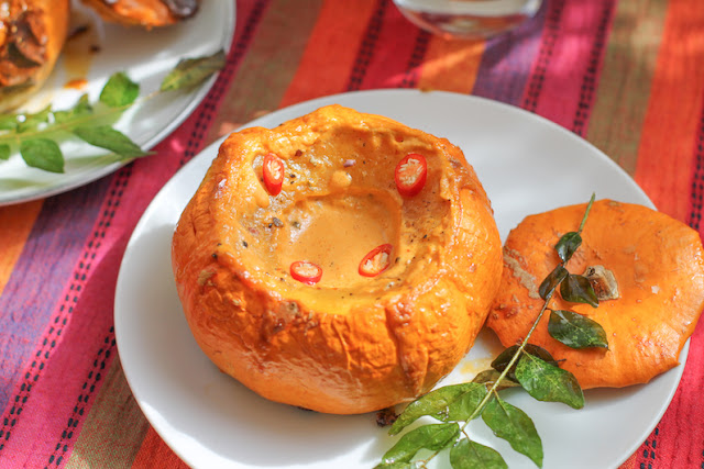 Food Lust People Love: Thai red curry paste whisked with coconut cream makes a gorgeous velvety sauce inside these coconut curry roast mini pumpkins!
