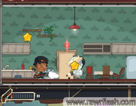 Escape da casa derrotando os zumbis e interagindo com o cenário. É possível usar armas e roupas diferentes.