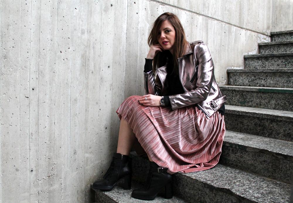 velvet skirt silver jacket outfit