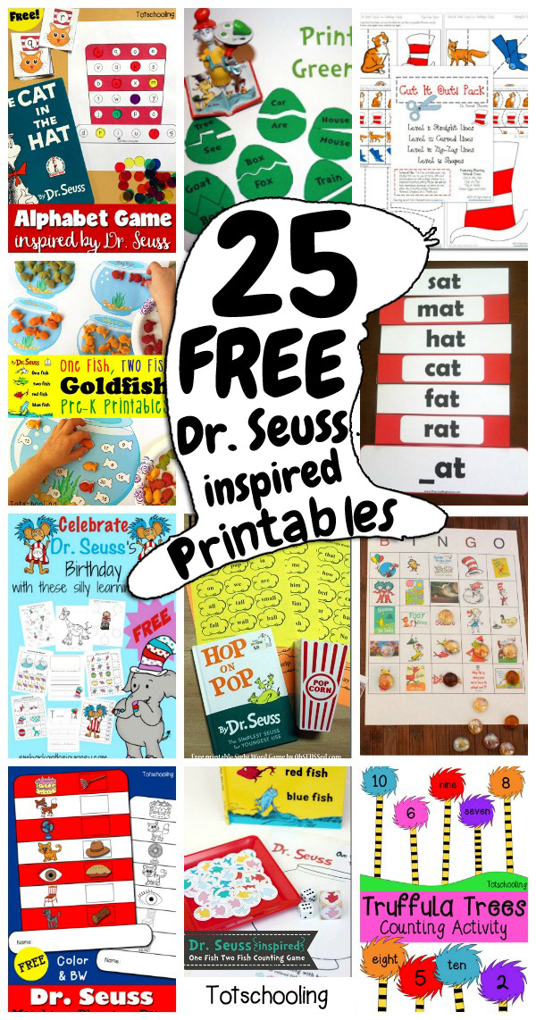 25 FREE Dr. Seuss-inspired Printables For Kids Totschooling - Toddler,  Preschool, Kindergarten Educational Printables