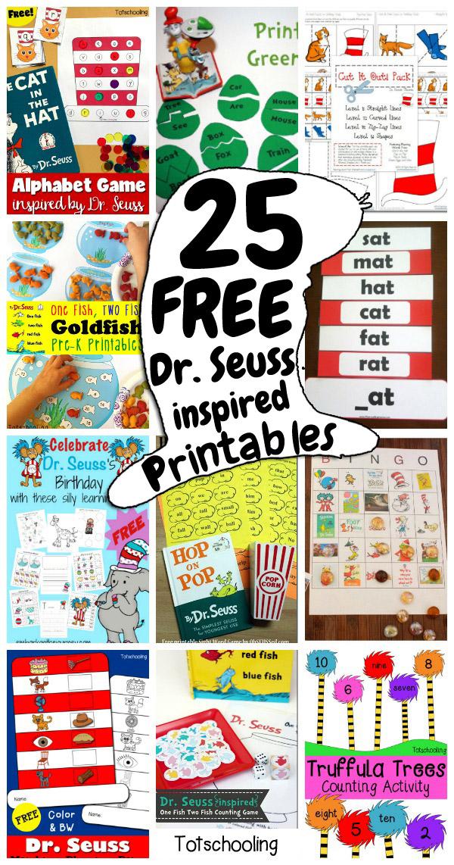 25 FREE Dr Seuss-inspired Printables for Kids Totschooling