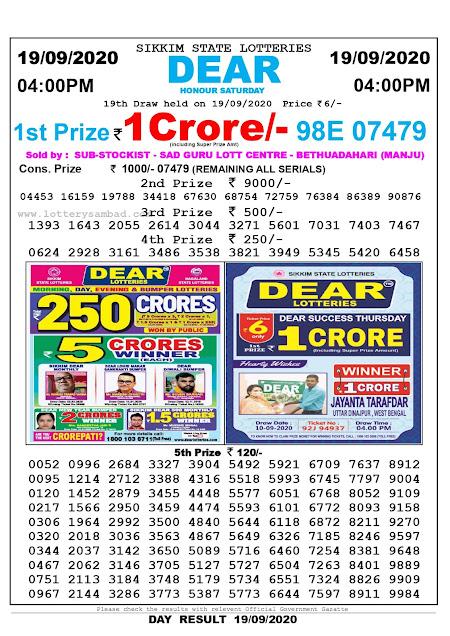 Lottery Sambad Today 19.09.2020 Dear Honour Saturday 4:00 pm
