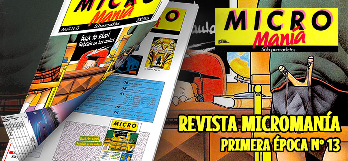 Revista Micromanía Primera época Número 13 1986