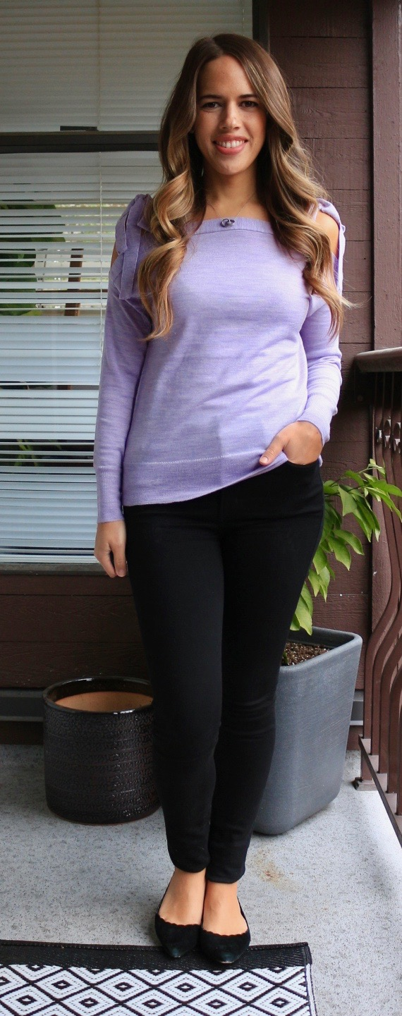Jules in Flats - Lilac Merino Sweater + Jeans for Work
