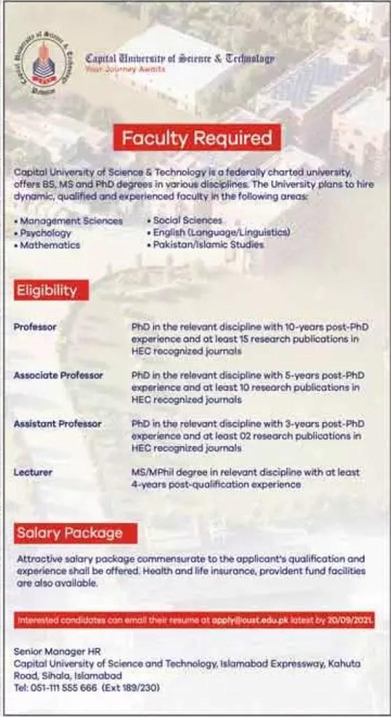 apply@cust.edu.pk - CUST Central University of Science and Technology Jobs 2021 in Pakistan