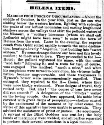 Married from force, Montana Post excerpt, November 4, 1865, page 3
