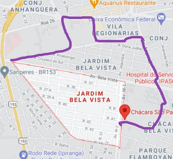 Mapa real do Jardim Bela Vista