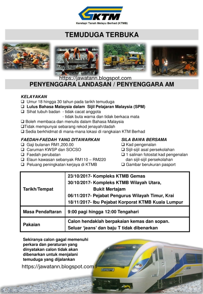 Temuduga Terbuka Keretapi Tanah Melayu Berhad (KTMB)