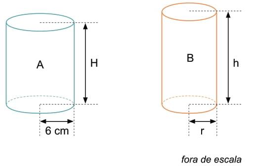 FAMEMA 2017: Um cilindro circular reto A, com raio da base igual a 6 cm e altura H, possui a mesma área lateral que um cilindro circular reto B, com raio da base r e altura h, conforme mostram as figuras.