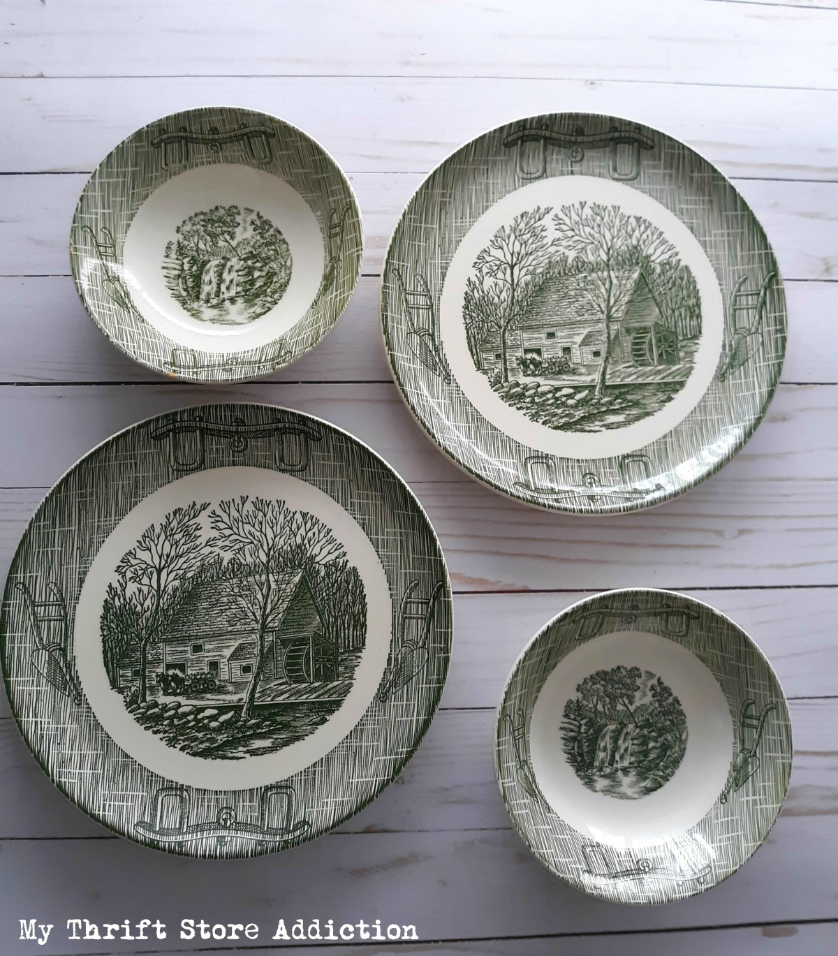 vintage dishes Currier and Ives