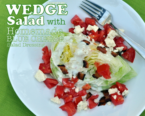 Wedge Salad with Homemade Low-Cal & Low-Carb Blue Cheese Salad Dressing, another weeknight easy supper idea ♥ KitchenParade.com. Low Carb. High Protein. Fresh & Seasonal. Summer Classic.