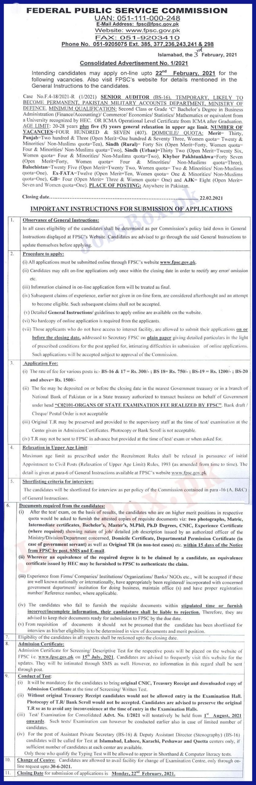 Senior Auditor Jobs 2021 in Ministry of Defence Latest Advertisement