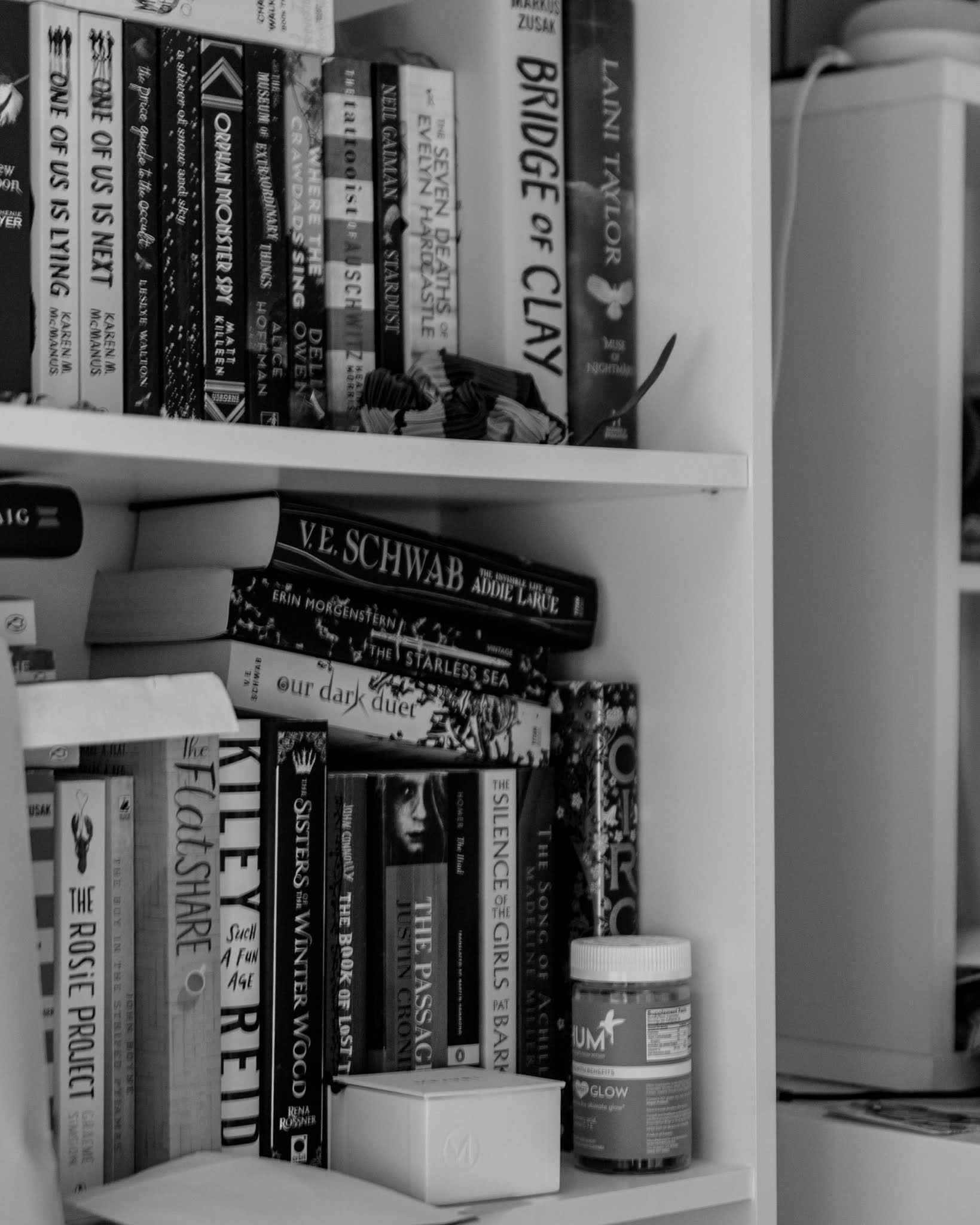 black and white image of bookshelves