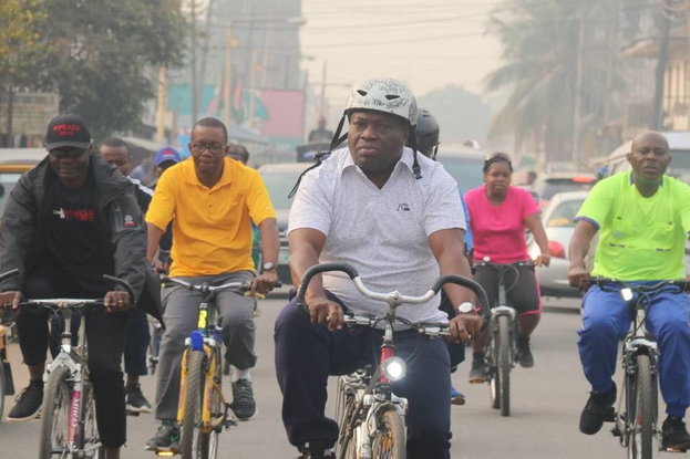 Abia-governor-rides-bicycle-through-the-streets-of-Umuahia