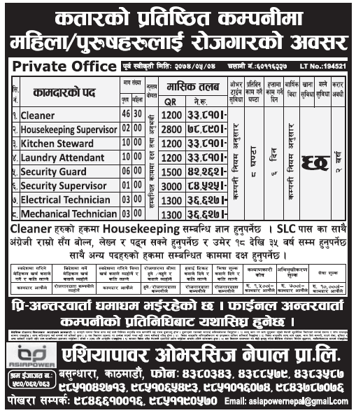 Jobs in Qatar for Nepali, Salary up to 84,525