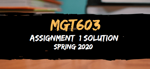 MGT603 Assignment 1 Solution Spring2020