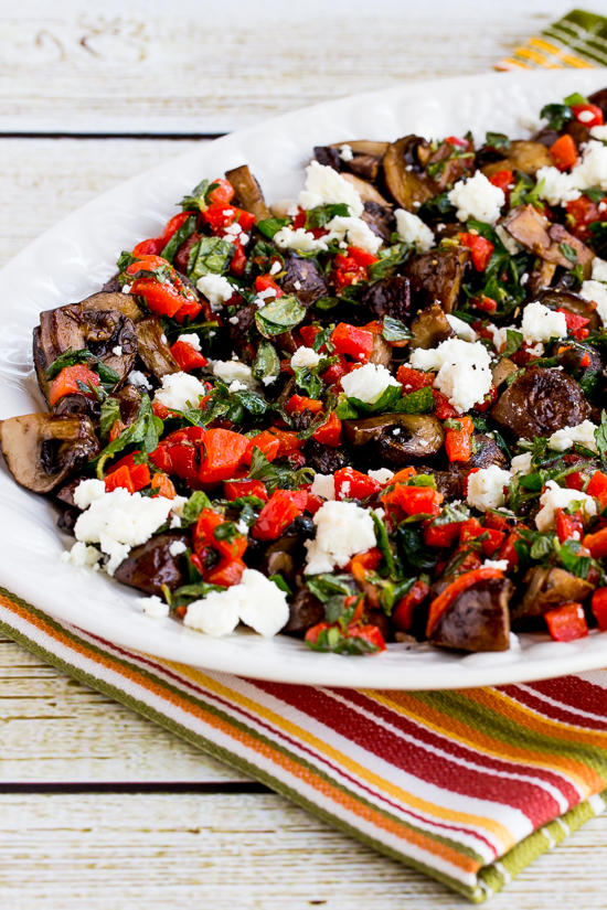 Greek Style Roasted Mushrooms with Red Pepper, Herbs, and Feta found on KalynsKitchen.com