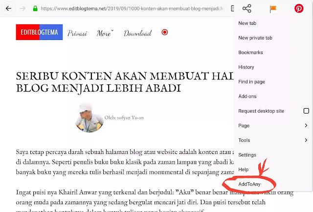 add on AddToAny pada browser Firefox