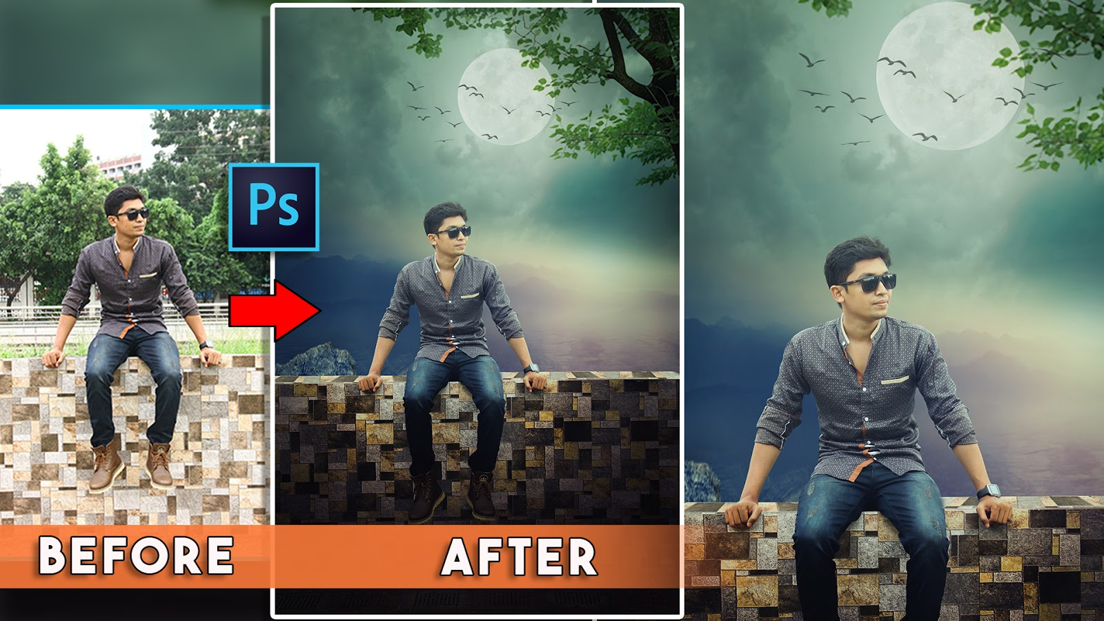 moon light photo manipulations tutorial in photoshop