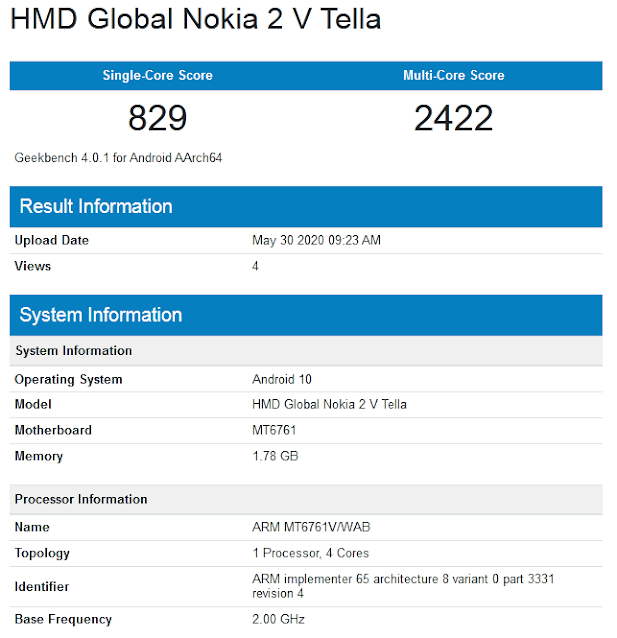 Nokia 2V Tella spotted on Geekbench
