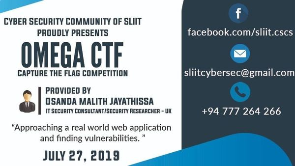 GCE Advanced Level ICT: Omega CTF on 27 July at SLIIT : Hacking
