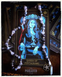 Queen of Pentagrams card rom the Supernatural tarot.