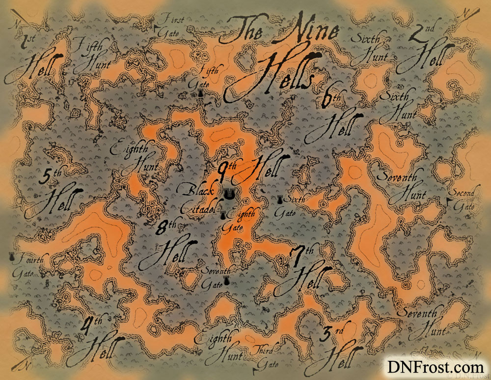 The Nine Hells: shadowed realm of daemons and lost souls www.DNFrost.com/maps #TotKW A map for Broken by D.N.Frost @DNFrost13 Part of a series.