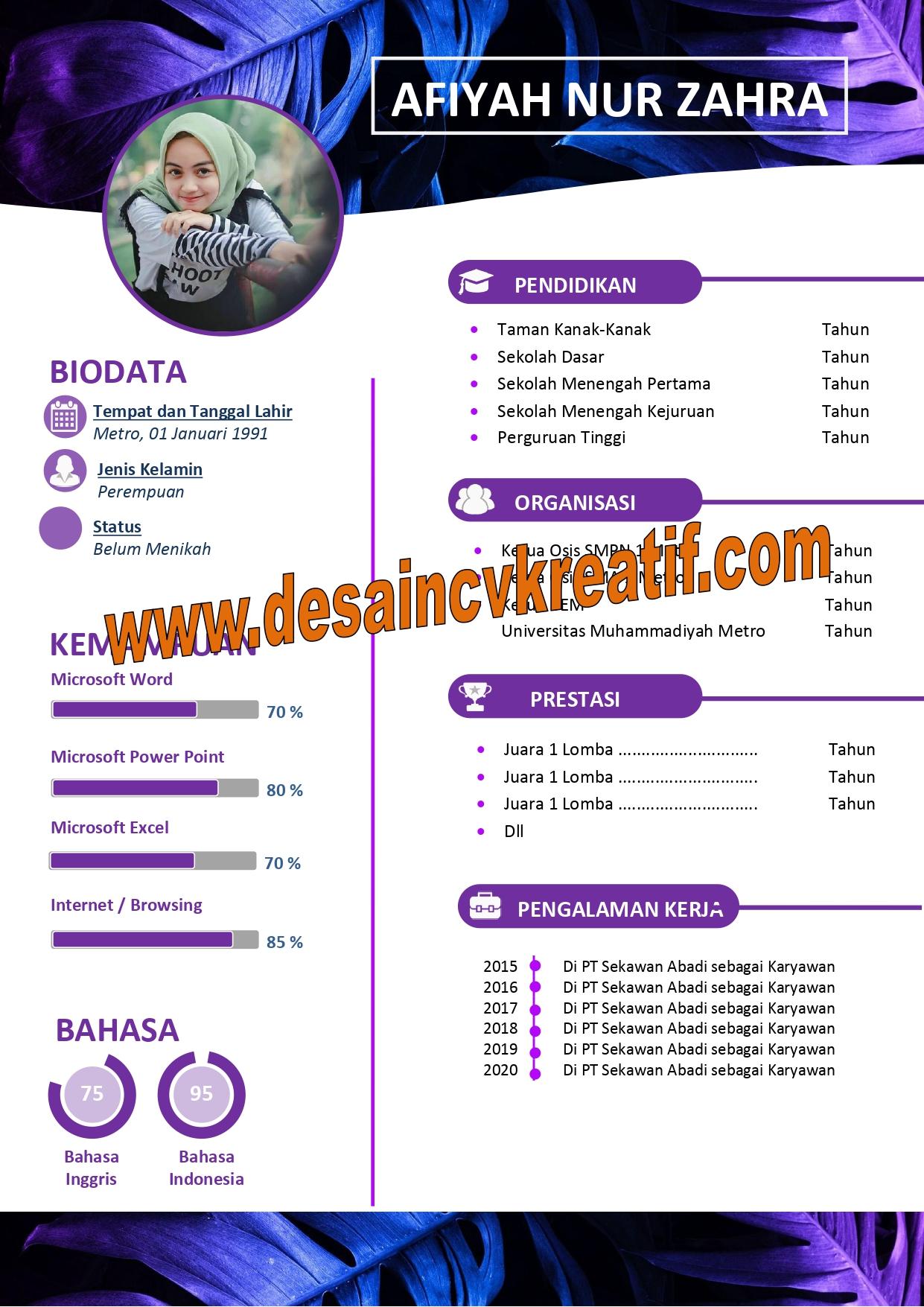 Cara Mudah Buat CV Lamaran Kerja Yang Menarik - Desain CV ...
