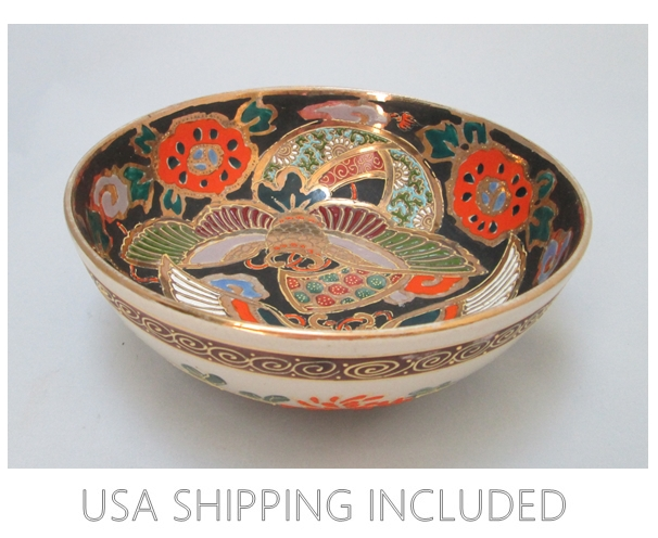 Black Satsuma Bowl 1920's Japan, Silk Moths With Moriage & Gilding