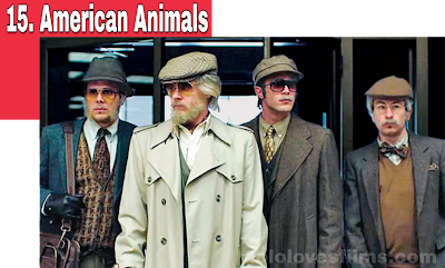 American Animals Barry 2018 movie Keoghan, Evan Peters, and Blake Jenner dressed as old men