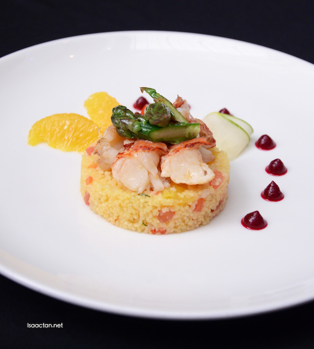 Lobster salad with orange dressing and vegetable cous cous